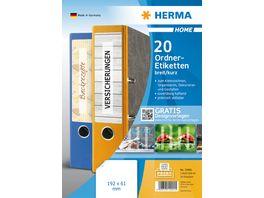 HERMA Abloesbare Ordneretiketten A4 192x61 mm weiss blickdicht fuer breite Ordner kurz