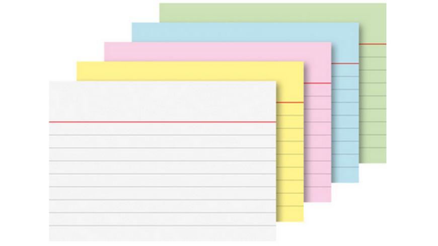 PAPERZONE Karteikarten liniert A8 200 Stueck farblich sortiert