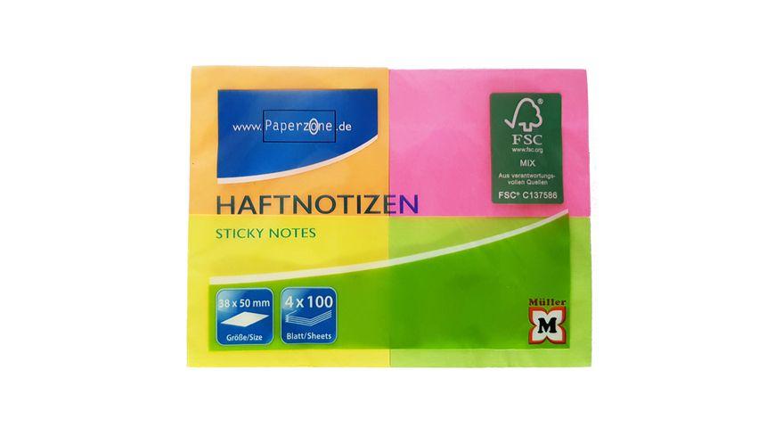 PAPERZONE Haftnotizen neon 38x50mm 4x100Blatt