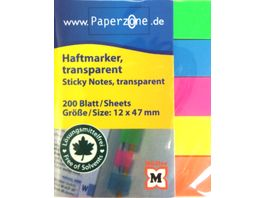 PAPERZONE Haftmarker neon transparent 200 Blatt 12 x 47mm