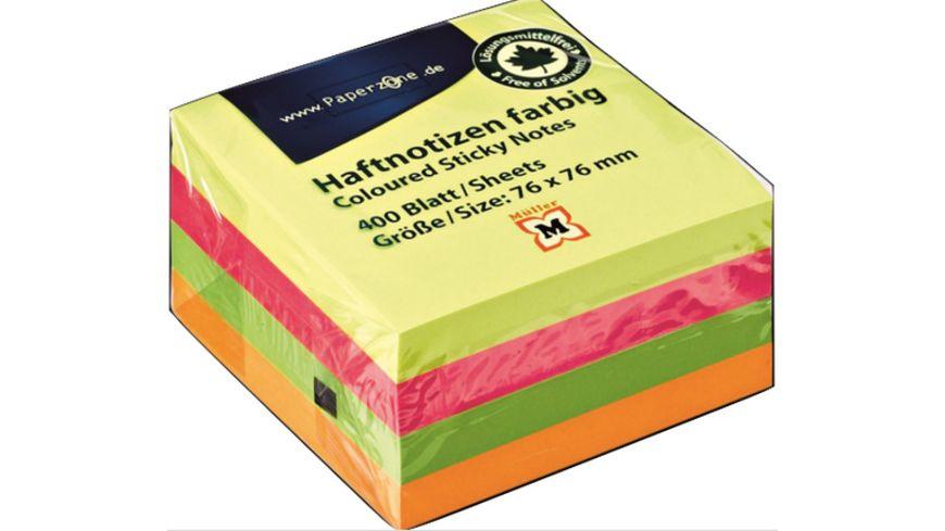 PAPERZONE Haftnotizen 400 Blatt in 4 Neonfarben