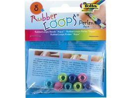 folia Rubber Loops Perlen Aqua 8 Stueck