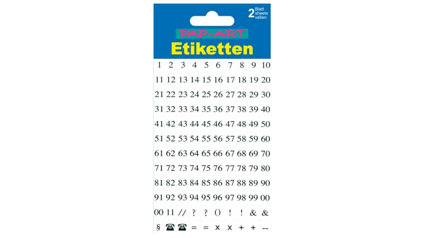 PAP-ART Zahlen-Etiketten schwarz auf weiss 10mm