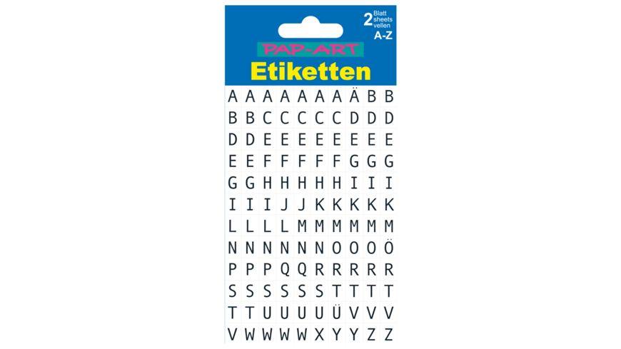 PAP ART Buchstaben Etiketten schwarz auf weiss 10mm