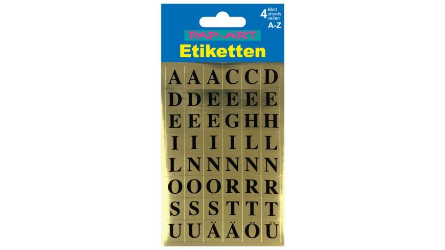PAP ART Buchstaben Etiketten schwarz auf gold 15mm