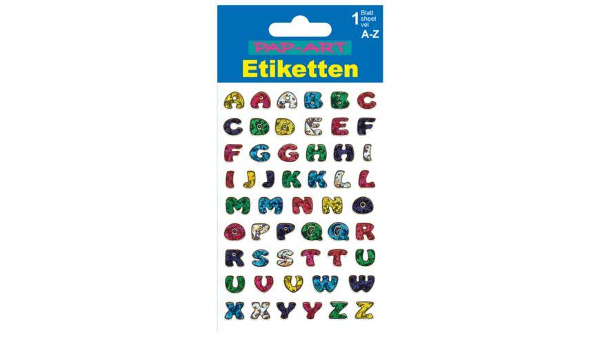 PAP-ART Buchstaben-Etiketten farbig mit Goldkontur