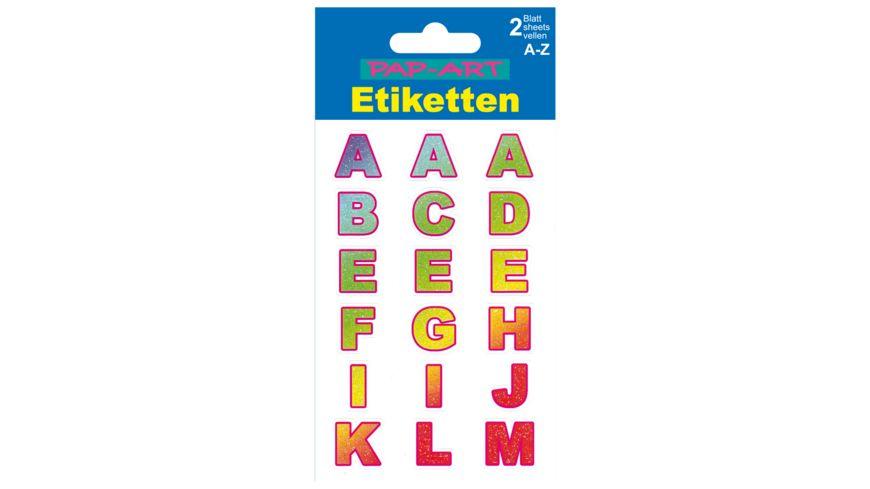 PAP ART Buchstaben Etiketten farbig glaenzend 20mm
