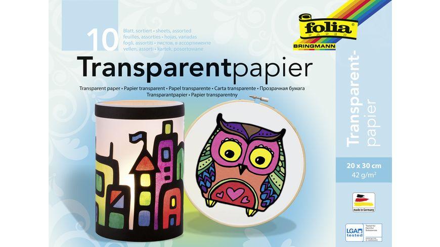 folia Transparenpapier Heft 10 Blatt farblich sortiert