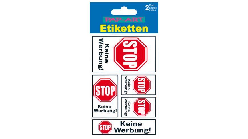 PAP ART Hinweis Etiketten Bitte keine Werbung
