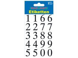 PAP ART Zahlen Etiketten schwarz auf transparent 20mm