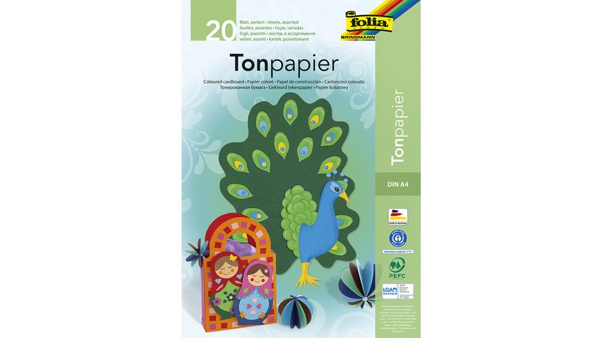 folia Tonzeichenpapierblock A4 20 Blatt farblich sortiert