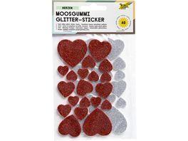 folia Glitzer Moosgummi Sticker rot silber