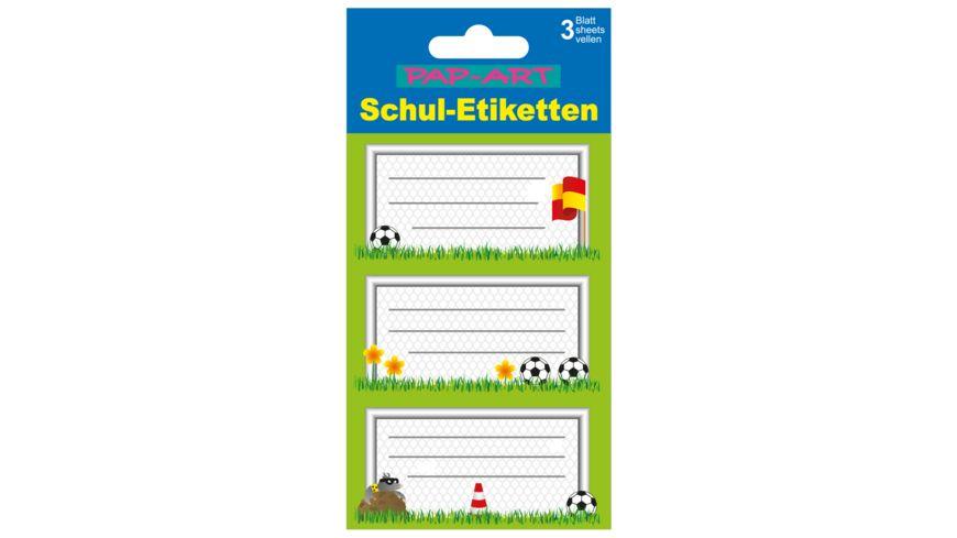 PAP ART Schulbuch Etiketten Fussball
