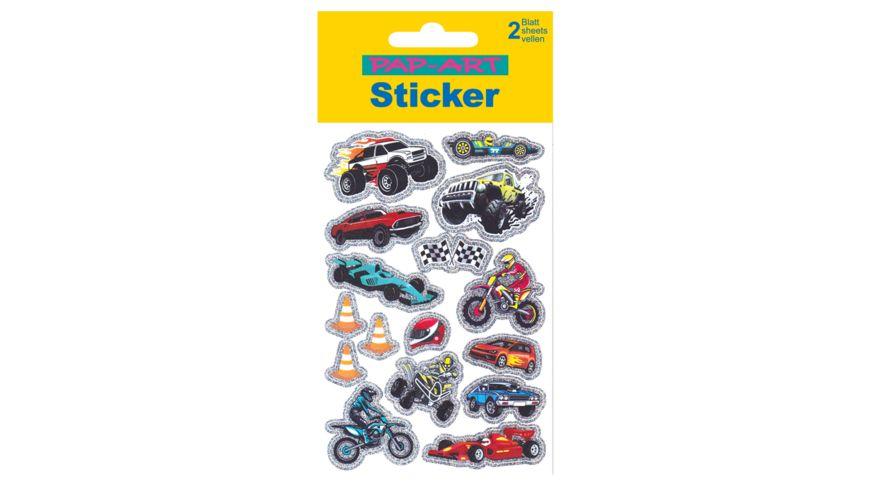 PAP ART Sticker Rallye Autos Glitzerfolie