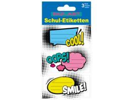 PAP ART Schulbuch Etiketten Sprechblasen