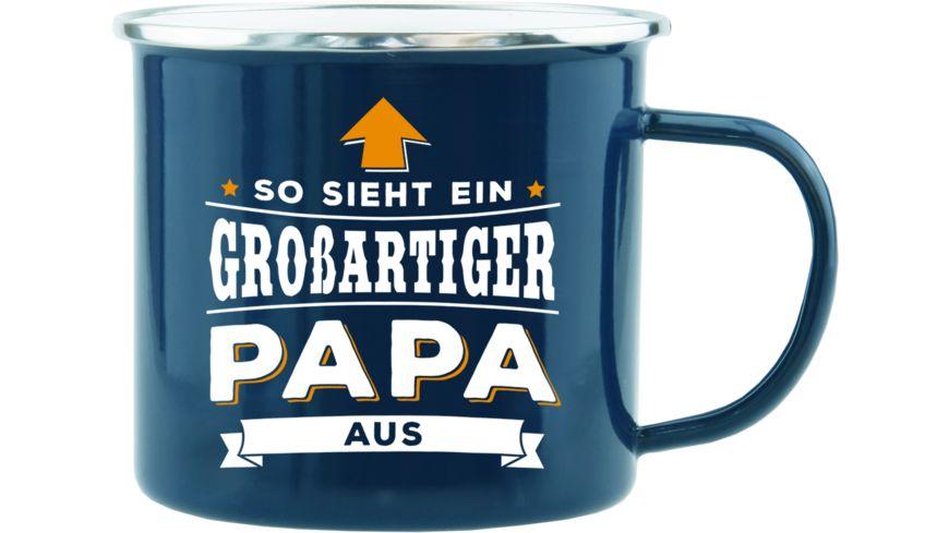 H H Echter Kerl Emaille Becher Papa