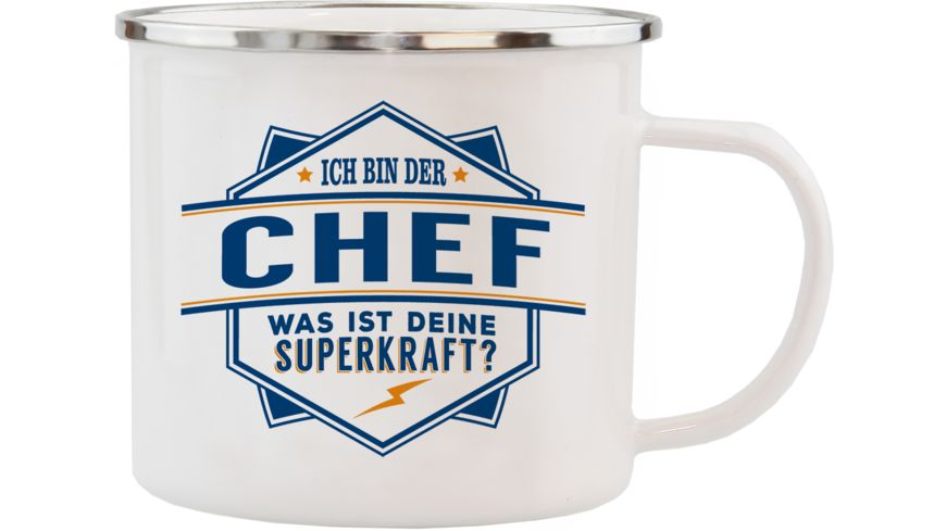 H H Echter Kerl Emaille Becher Chef