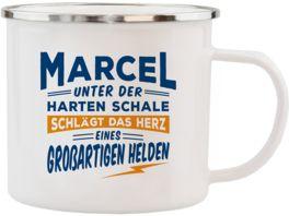 H H Echter Kerl Emaille Becher Marcel