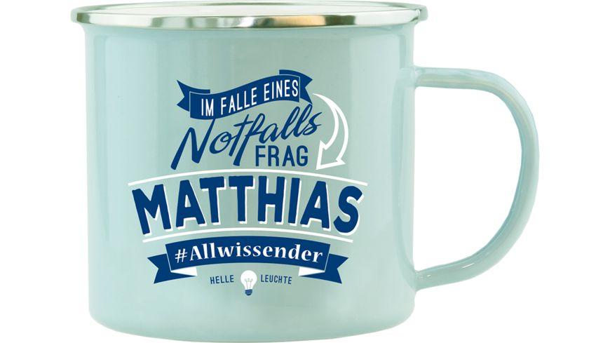 H H Echter Kerl Emaille Becher Matthias