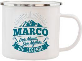 H H Echter Kerl Emaille Becher Marco