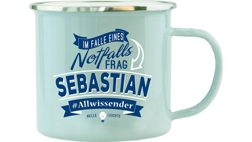 H H Echter Kerl Emaille Becher Sebastian