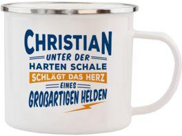 H H Echter Kerl Emaille Becher Christian