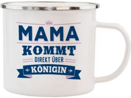H H Echter Kerl Emaille Becher Mama