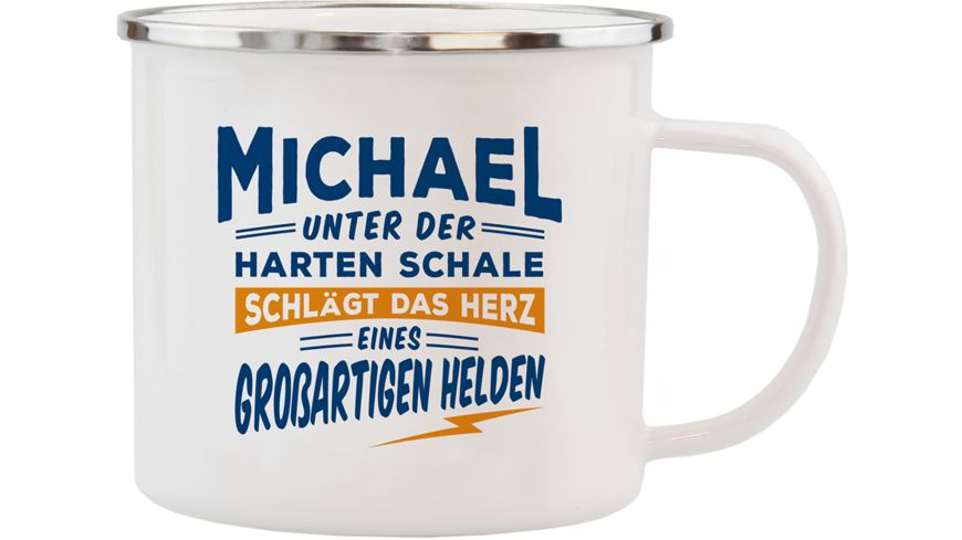 H H Echter Kerl Emaille Becher Michael