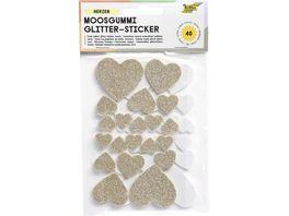 folia Glitter Moosgummi Herzen