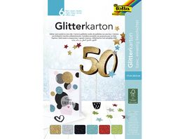 folia Glitter Kartonblock 6 Blatt farblich sortiert