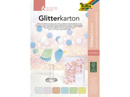 folia Glitter Kartonblock 6 Blatt pastell farblich sortiert