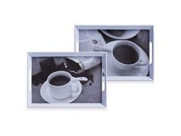 zeller Melamintablett Kaffee Design