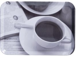 zeller Tablett aus Melamin Kaffee Design 30 5x22cm