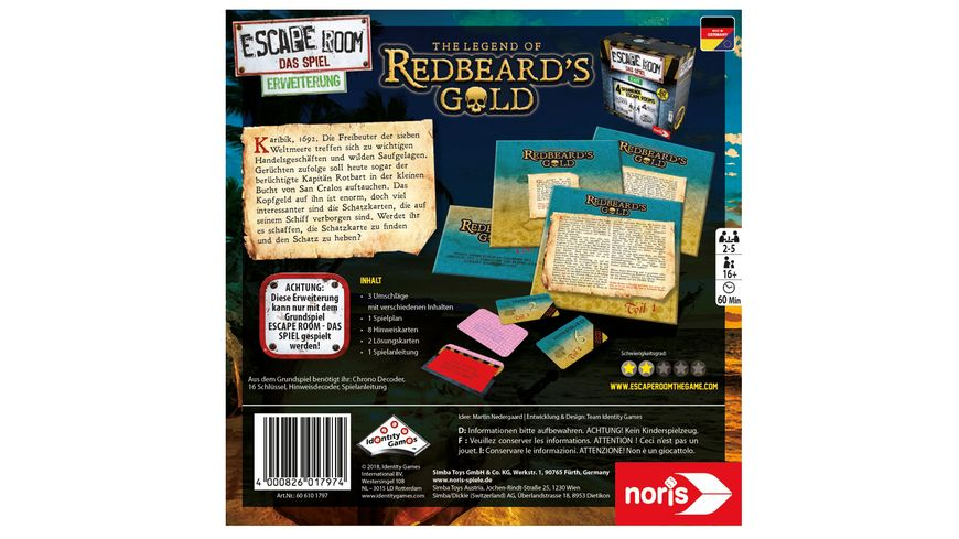 Noris Spiele Escape Room Redbeards Gold