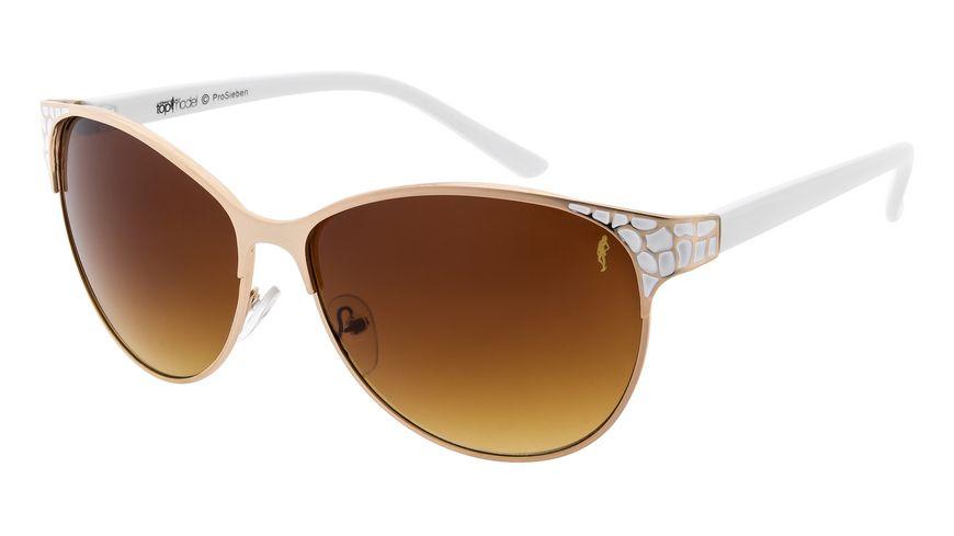 GNTM Sonnenbrille Gold mit weißen Bügeln