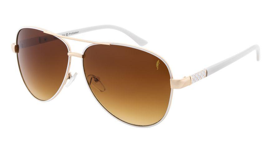 GNTM Sonnenbrille weiss gold mit weissen Buegeln