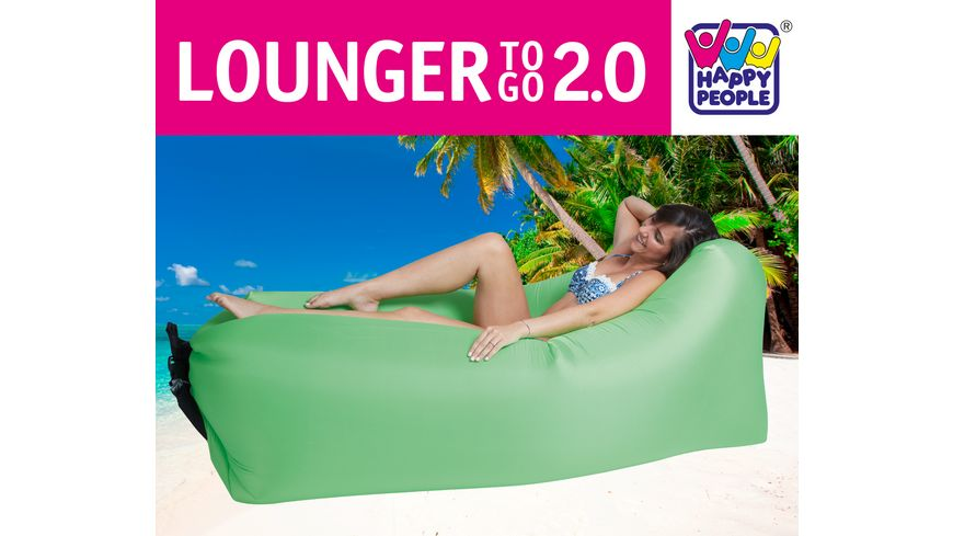 Happy People LOUNGER TO GO 2 0 Gruen Luftbett Ohne Aufpumpen Inkl Tragetasche 180 cm