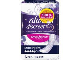 Always Discreet Inkontinenz Einlagen Maxi Night bei Blasenschwaeche 6 Stueck