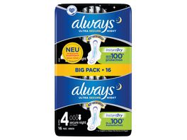 always Ultra Binde Secure Night mit Fluegeln BigPack 18 Stueck
