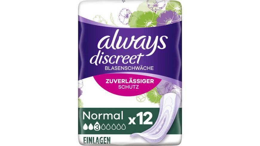 Always Discreet Inkontinenz Einlagen Normal bei Blasenschwaeche 12 Stueck