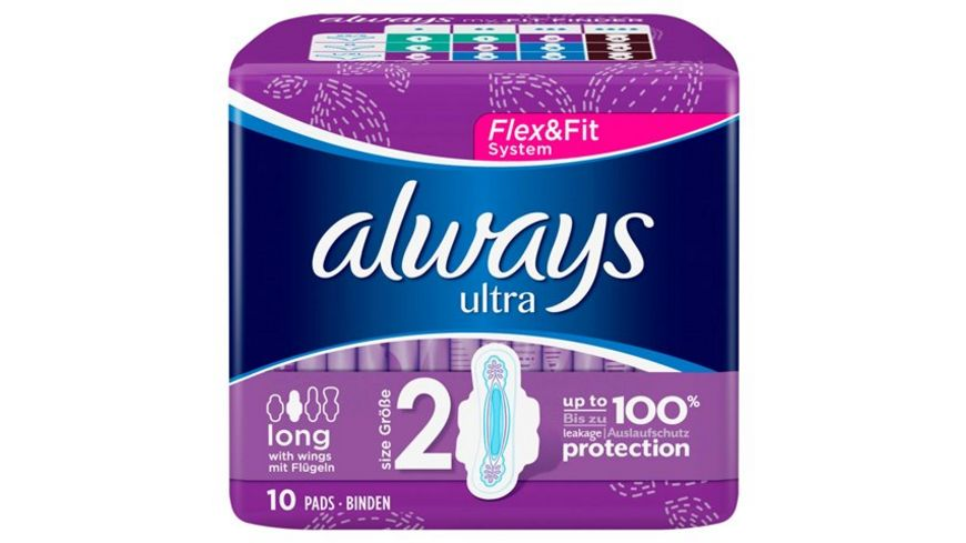 always Ultra Binde Long mit Fluegeln 10 Stueck