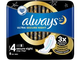 Always Ultra Secure Night Binden Groesse 4 Mit Fluegeln 8 Stueck