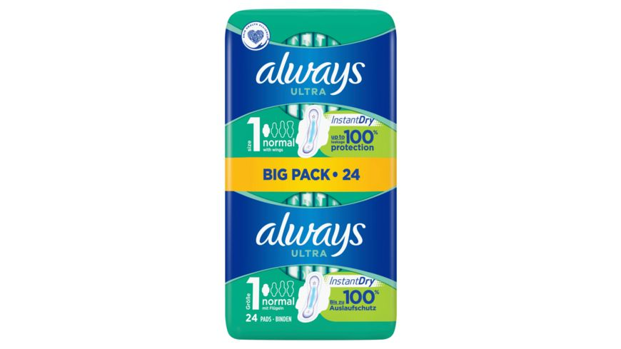 always Ultra Binde Normal mit Fluegeln Vorteilspack 26 Stueck