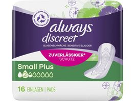 Always Discreet Inkontinenz Einlagen Small Plus 16 Stueck