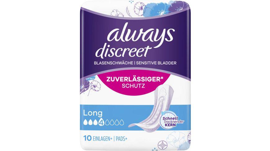 Always Discreet Inkontinenz Einlagen Long 10 Stueck