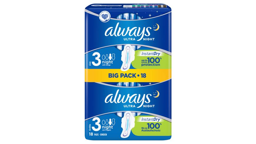 always Ultra Binde Night mit Fluegeln BigPack 18 Stueck