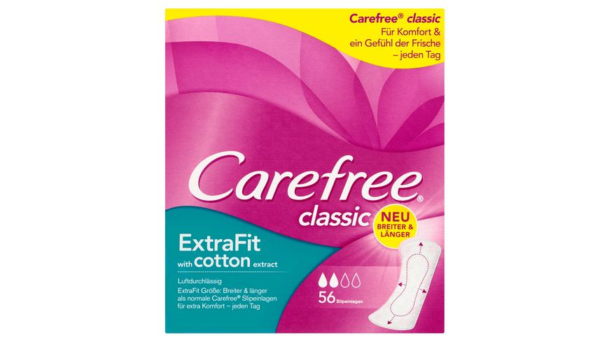 Carefree classic ExtraFit with cotton extract Slipeinlagen 56 Stueck