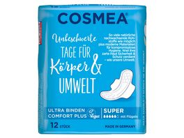 Cosmea Comfort Plus Ultra Binden Geruchsschutz Super mit Fluegeln 12 Stueck