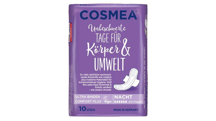 Cosmea Comfort Plus Ultra Binden Geruchsschutz Nacht mit Fluegeln 10 Stueck