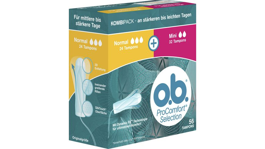 o b Tampons ProComfort Selection Normal und Mini 56 Stueck